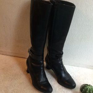 Cole Han Black Leather Tall Boots
